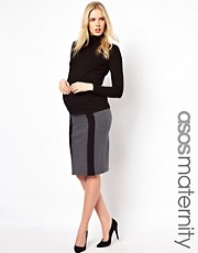 ASOS Maternity Exclusive Ponte Pencil Skirt With Contrast Panels