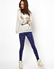 ASOS  Gepunktete Leggings in Denim-Optik