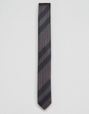 ASOS Slim Tie With Stripe Design In Grey