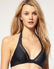 Eda D-G Bijou Hidden Underwire Bikini Top With Gold Stud Detail