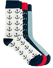 ASOS 3 Pack Socks With Anchor Design