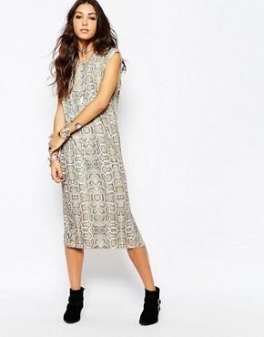 Lira Sleeveless Tank Vest Dress In Snakeskin Print
