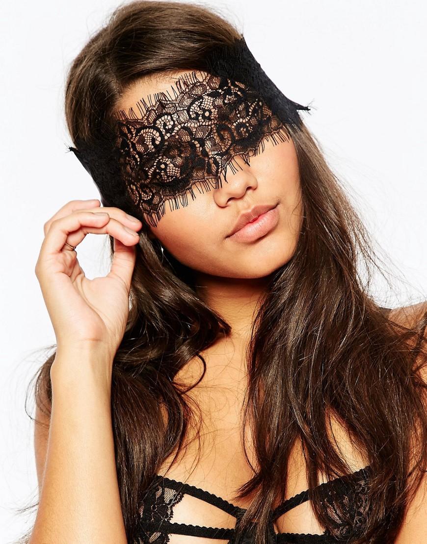 asos female asos eyelash lace blindfold black