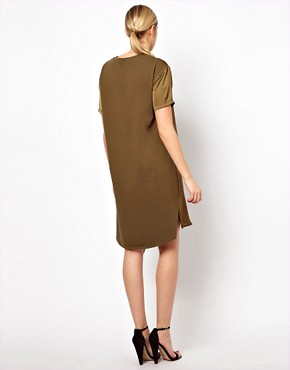 Image 2 ofASOS Maternity Dress With Silk Panel