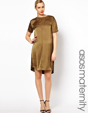 Image 1 ofASOS Maternity Dress With Silk Panel