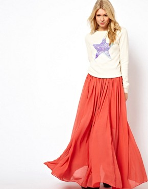 Image 1 ofASOS Maxi Skirt with Broderie Inserts