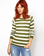 Ganni Merino Wool Mix Striped Sweater