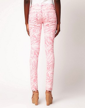 Image 2 ofASOS Skinny Jean in Pink Palm Print #4