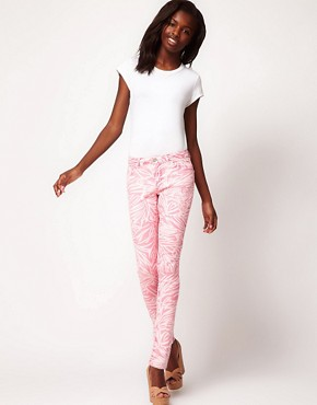Image 4 ofASOS Skinny Jean in Pink Palm Print #4