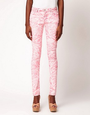 Image 1 ofASOS Skinny Jean in Pink Palm Print #4