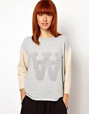 WoodWood Hope Sweatshirt with Double A in Light Grey Mix