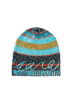 Image 4 ofLauren McCalmont For ASOS Text Foil Print Boyfriend Beanie
