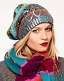 Image 1 ofLauren McCalmont For ASOS Text Foil Print Boyfriend Beanie