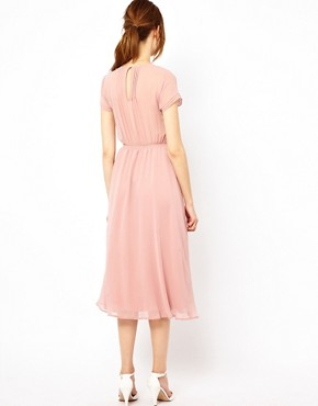 Image 2 ofWarehouse Pleated Skirt &amp; Bodice Midi Dress