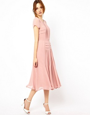 Image 4 ofWarehouse Pleated Skirt &amp; Bodice Midi Dress