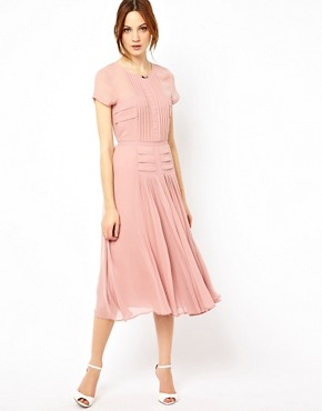 Image 1 ofWarehouse Pleated Skirt &amp; Bodice Midi Dress