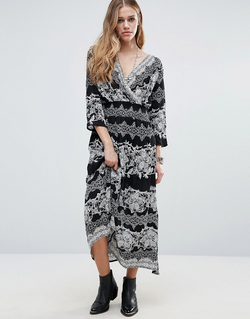 Raga Bonnie Printed Smock Dress - Black