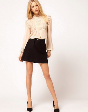 Image 4 of ASOS Blouse With Lace And Pintucks