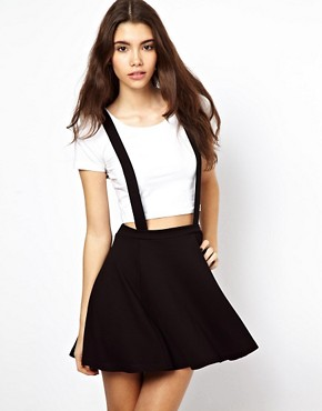 Image 1 of ASOS Ponte Skater Skirt with Braces