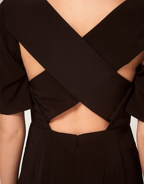 Image 3 ofASOS PETITE Exclusive Jumpsuit With Cross Back Detail