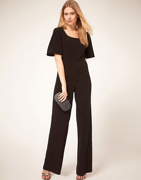 Image 4 ofASOS PETITE Exclusive Jumpsuit With Cross Back Detail