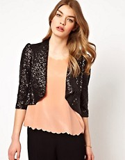 Dress Gallery Draped Sequin Jacket