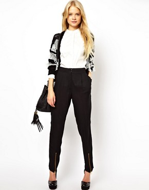 Image 1 ofASOS Peg Trousers with Zip Front Detail