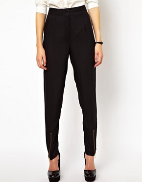 Image 4 ofASOS Peg Trousers with Zip Front Detail