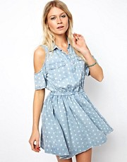 ASOS Cold Shoulder Denim Dress in Washed Spot Print