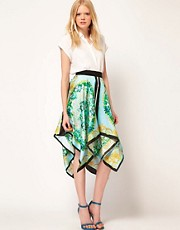 MSGM Asymmetric Skirt With Scarf Print