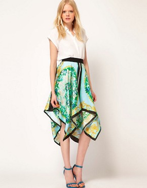 Image 1 ofMSGM Asymmetric Skirt With Scarf Print