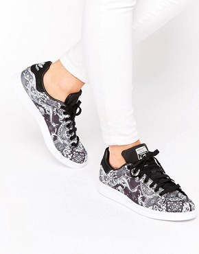 adidas Originals X Farm Black Print Stan Smith Trainers