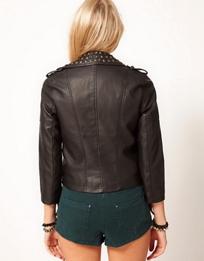 Image 2 ofASOS PETITE Leather Look Biker Jacket With Studded Collar