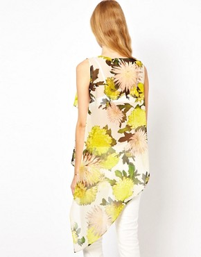 Image 2 ofASOS Top With Asymmetric Ruffle In Oversized Floral Print