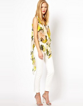 Image 1 ofASOS Top With Asymmetric Ruffle In Oversized Floral Print