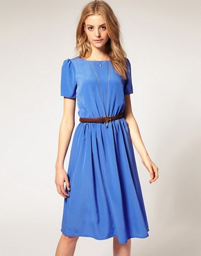 Image 1 of ASOS Soft Skirt Midi Dress with Short Sleeves