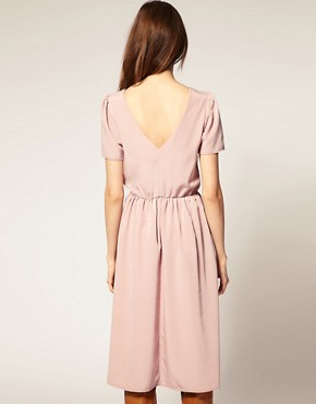 Image 2 ofASOS Soft Skirt Midi Dress with Short Sleeves