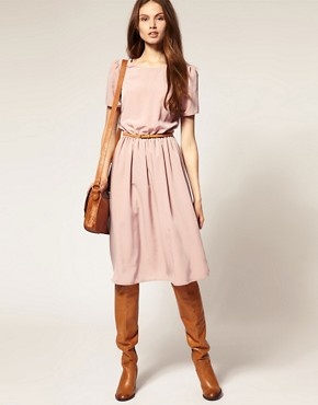 Image 4 ofASOS Soft Skirt Midi Dress with Short Sleeves