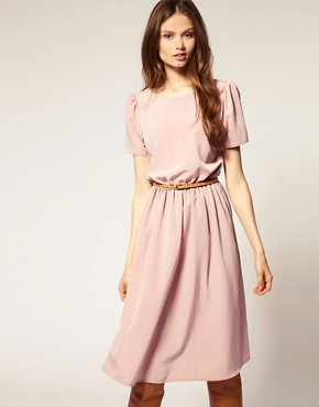Image 1 ofASOS Soft Skirt Midi Dress with Short Sleeves