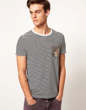 Image 1 ofASOS Stripe T-Shirt With Floral Print Pocket
