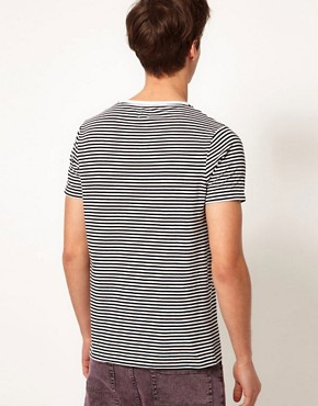 Image 2 ofASOS Stripe T-Shirt With Floral Print Pocket