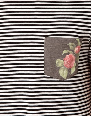 Image 3 ofASOS Stripe T-Shirt With Floral Print Pocket