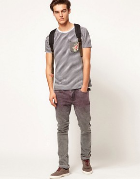 Image 4 ofASOS Stripe T-Shirt With Floral Print Pocket