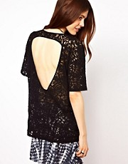 ASOS T-Shirt with Open Back in Lace