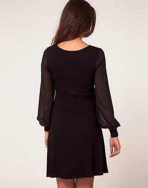 Image 2 ofASOS Maternity Exclusive Dress With Wrap And Chiffon Sleeve