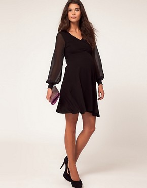 Image 4 ofASOS Maternity Exclusive Dress With Wrap And Chiffon Sleeve