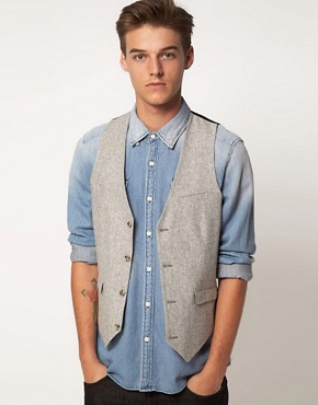 Image 1 ofASOS Slim Fit Waistcoat In Tweed