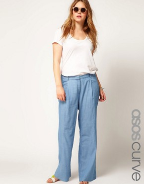 Image 1 ofASOS CURVE Wide Leg Trouser In Denim