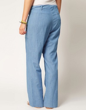 Image 2 ofASOS CURVE Wide Leg Trouser In Denim
