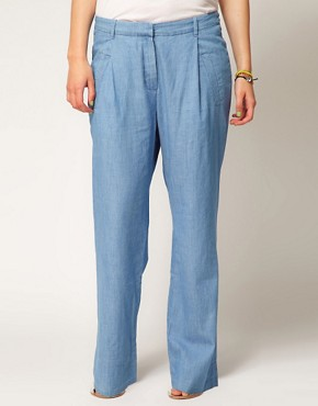 Image 4 ofASOS CURVE Wide Leg Trouser In Denim